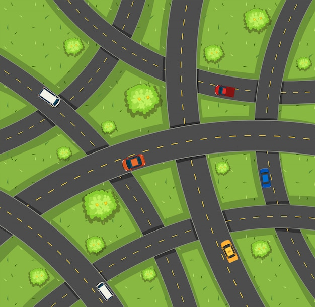 Aerial view of cars on roads Free Vector