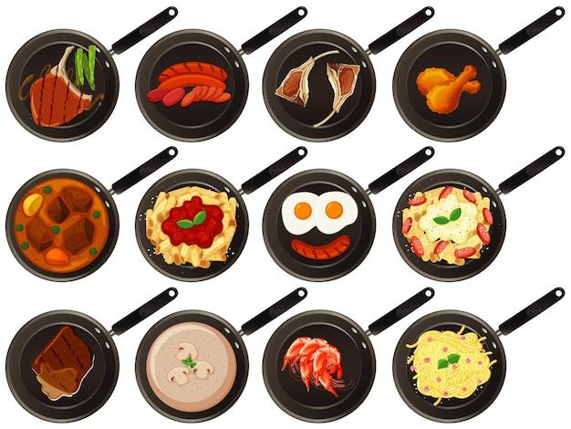 Aerial view of food on pan Free Vector