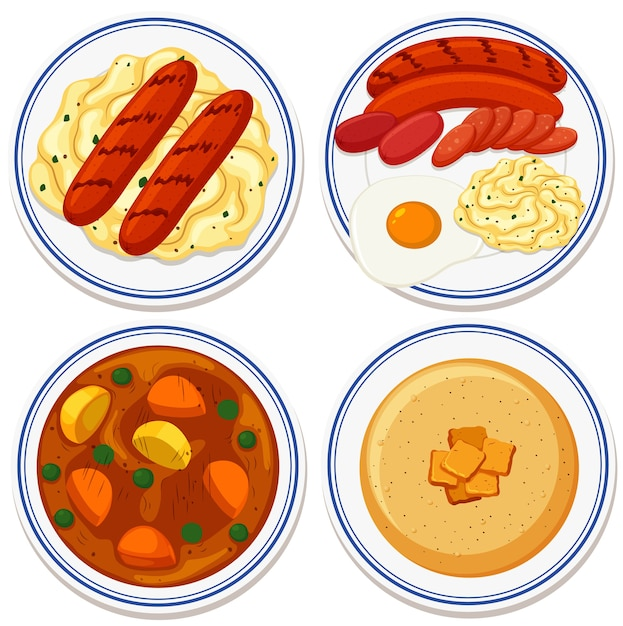 Aerial view of food on plate Free Vector