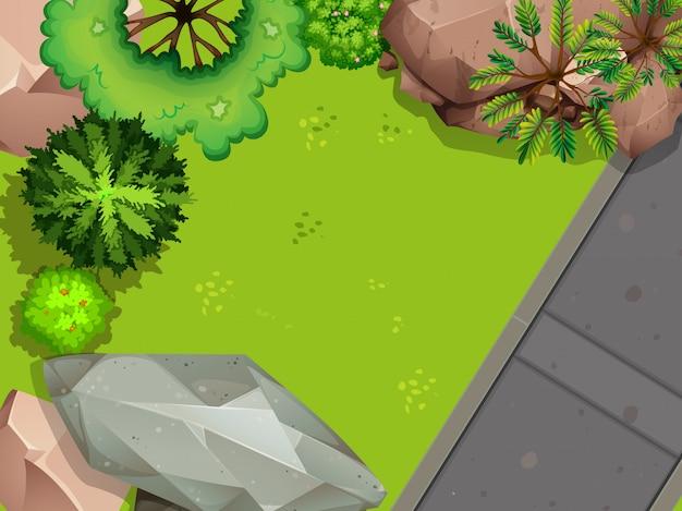 Aerial view of garden Premium Vector