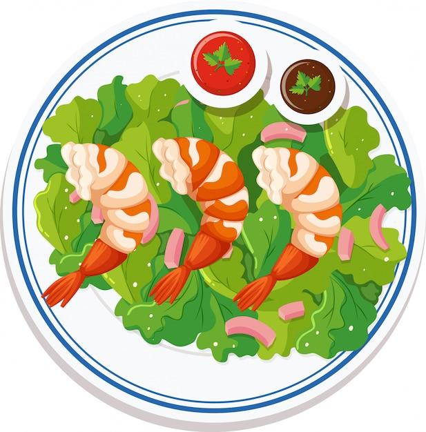 皿の上に食べ物の空撮 無料ベクター