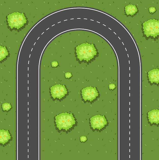 Aerial view of u-turn road Free Vector