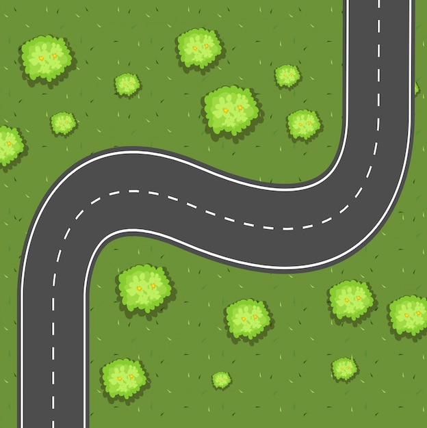 Aerial view of road on the green land Premium Vector