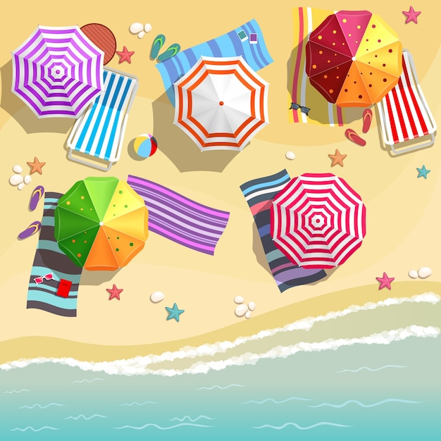Aerial view of summer beach in flat design style. slippers and towel, starfish and summertime, relaxation summer tourism Free Vector