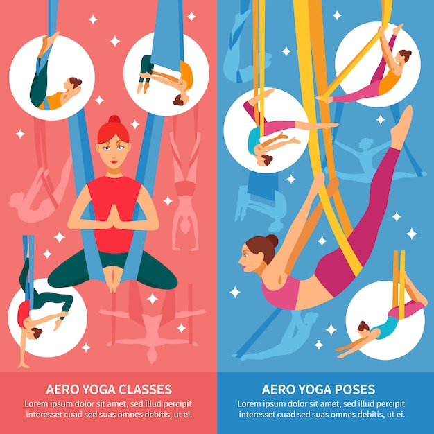 Aero yoga banner set Free Vector