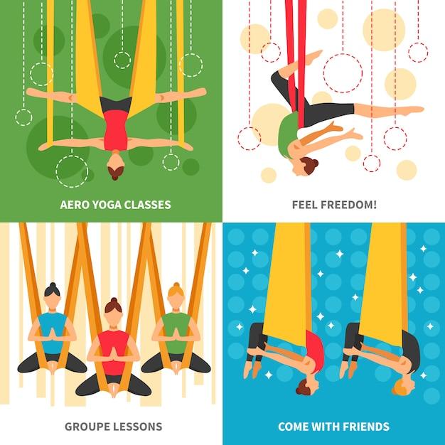 Aero yoga card set Бесплатные векторы