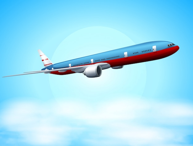 An aeroplane in the sky Free Vector