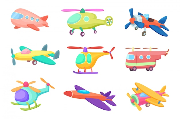 Aeroplanes in cartoon style, various toys for kids Premium Vector