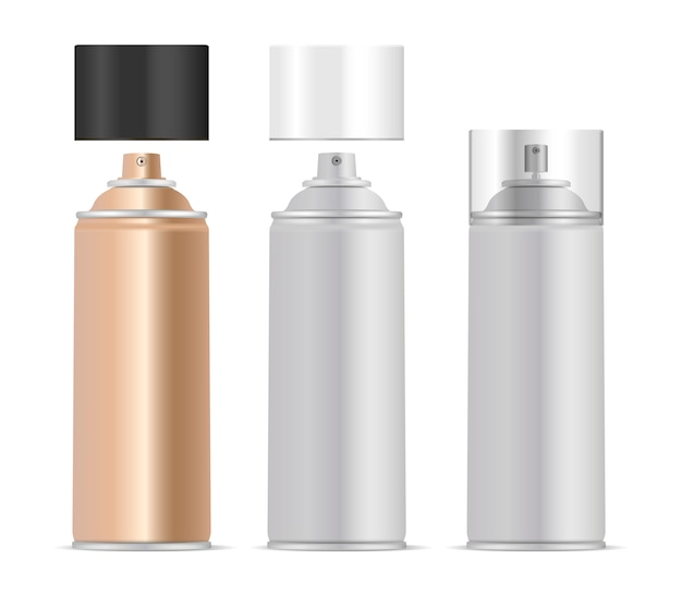 Aerosol spray metal bottles set Premium Vector