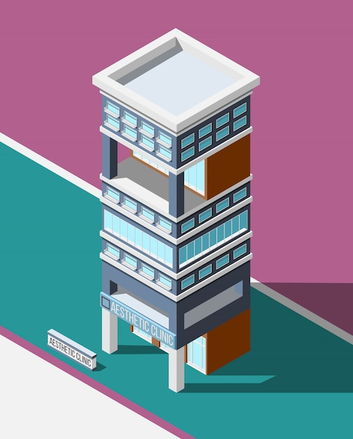 Aesthetic clinic isometric background Free Vector