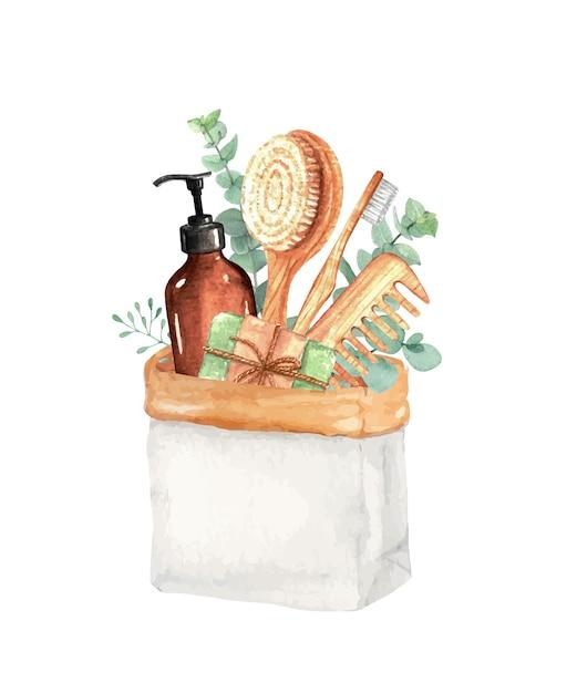 Эстетические вещи для ванны без отходов акварельные иллюстрации Premium векторы