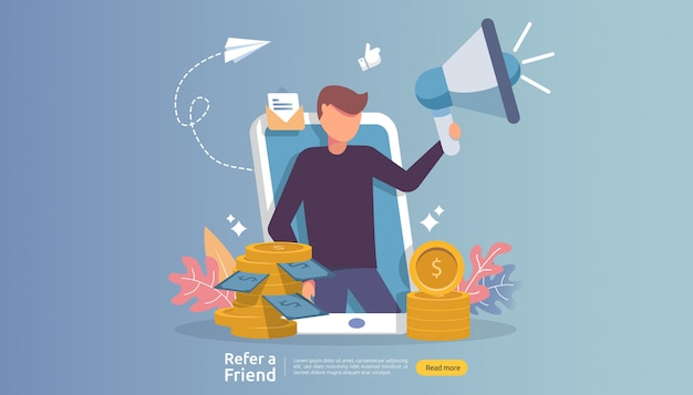 Affiliate marketing . refer a friend strategy. people character shout megaphone sharing referral business partnership and earn money. Premium Vector