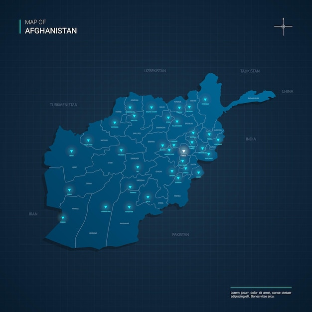 Afghanistan map illustration with blue neon lightpoints - triangle on dark blue gradient. administrative divisions, cities, borders, capital. Premium Vector