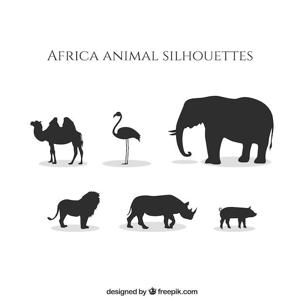 アフリカの動物のシルエット 無料ベクター