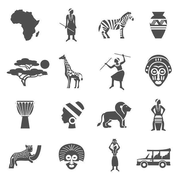 Africa black white icons set Free Vector