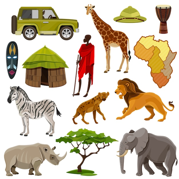 Africa icons set Free Vector