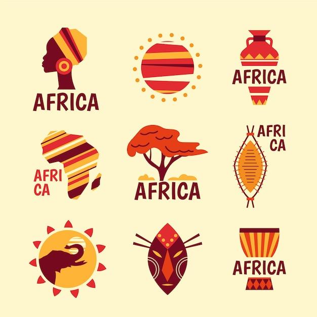 Коллекция логотипов африки Premium векторы