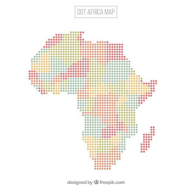 Africa map background with dots Free Vector