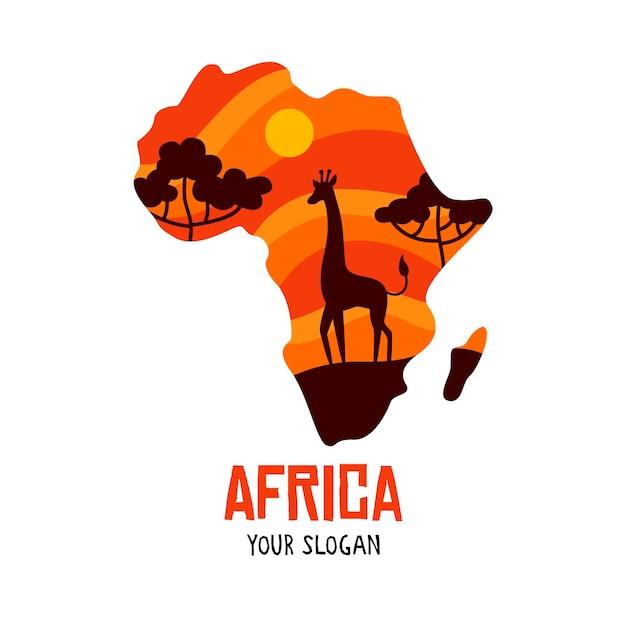 기린과 아프리카지도 로고 무료 벡터