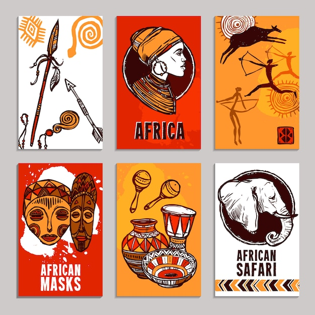 アフリカのポスターセット 無料ベクター