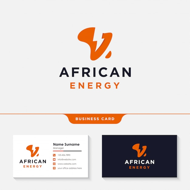 Africa power energy logo design Premium Vector