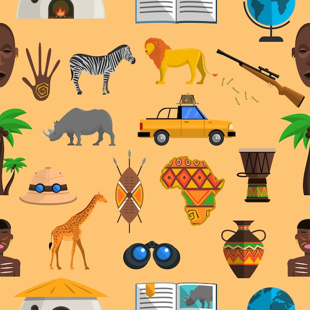 Africa seamless pattern Free Vector