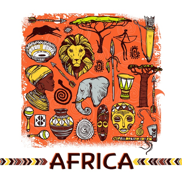 Africa sketch illustration Free Vector