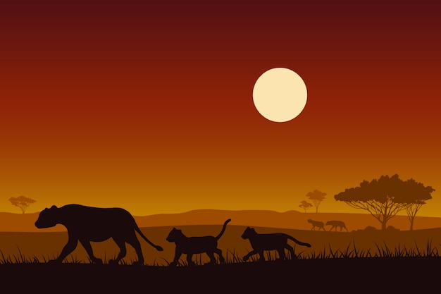Africa wildlife. silhouette female lion and baby lion. Premium Vector