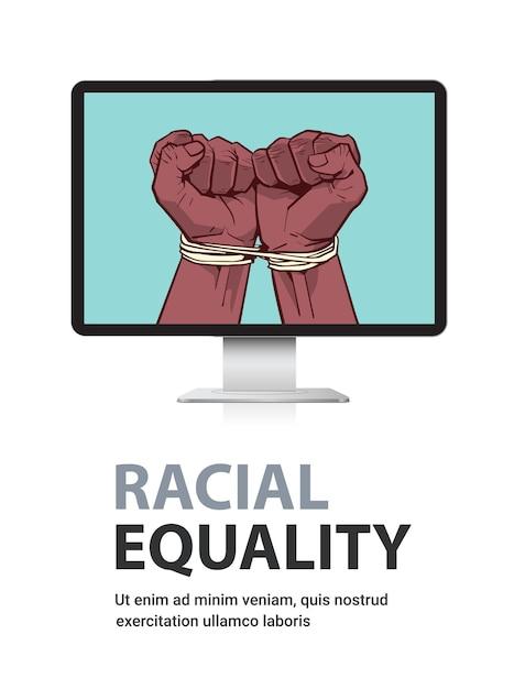 モニター画面にロープで縛られたアフリカ系アメリカ人の黒い拳停止人種差別人種平等黒人生活問題概念垂直コピースペース Premiumベクター