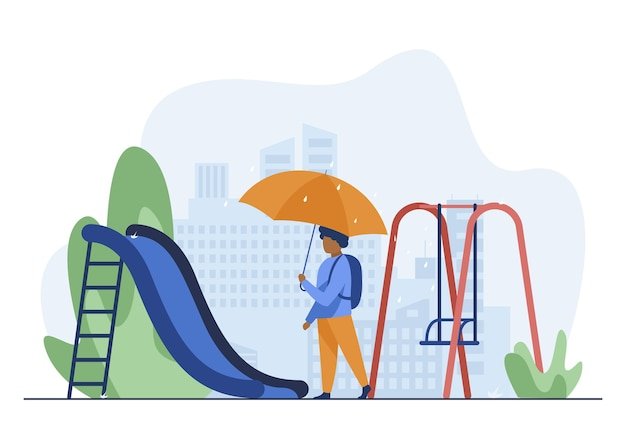 African american boy walking with umbrella on playground. backpack, slide, cityscape flat vector illustration. weather and childhood Free Vector