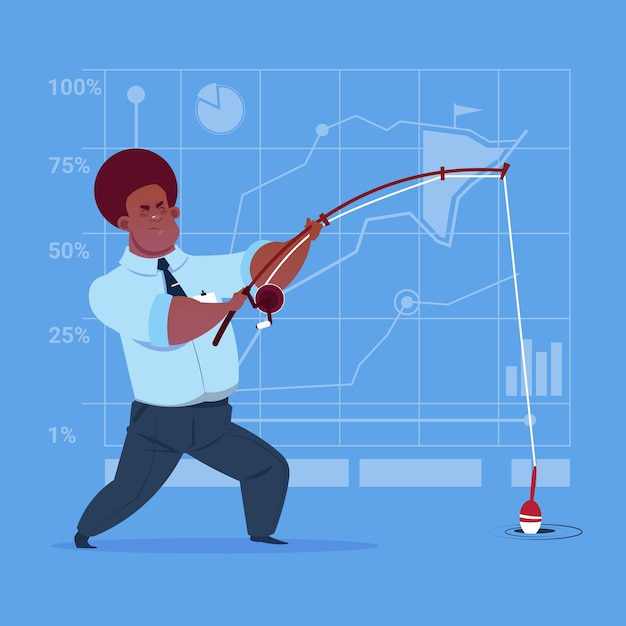 African american business man holding fishing tackle Premium Vector