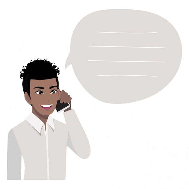 携帯電話で話しているアフリカ系アメリカ人のビジネスマン。スタイルのイラスト Premiumベクター