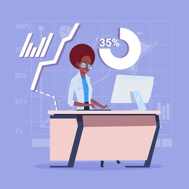 African american business woman sitting desk Premium Vector