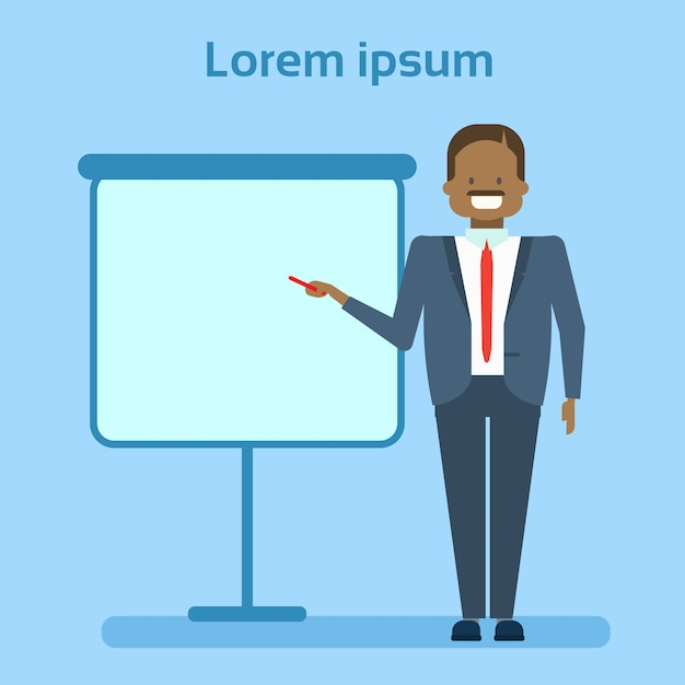 African american businessman pointing to empty white board Premium Vector