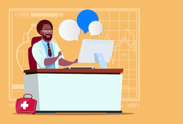 African american doctor sitting at computer online consultation medical clinics worker hospital Premium Vector