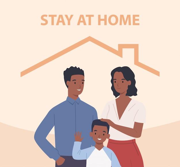 Семья афроамериканцев с детьми остается дома. счастливые люди внутри дома. иллюстрация в плоском стиле Premium векторы
