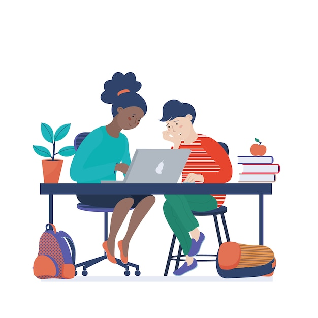 African american girl and caucasian boy working on laptop, learning computer science Premium Vector