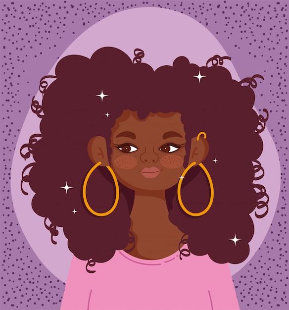Афро-американских девушка портрет мультфильм вьющиеся волосы векторные иллюстрации Premium векторы