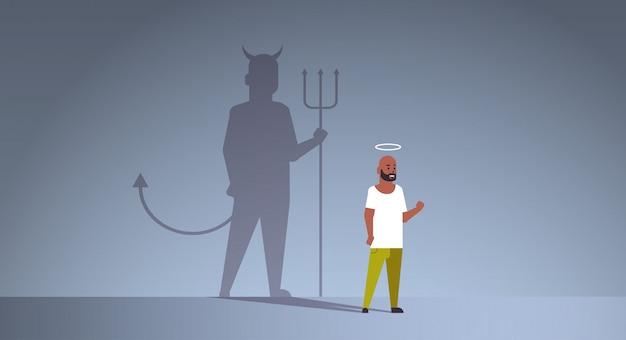 후광 선과 악 사이에서 선택 아프리카 계 미국인 남자 프리미엄 벡터