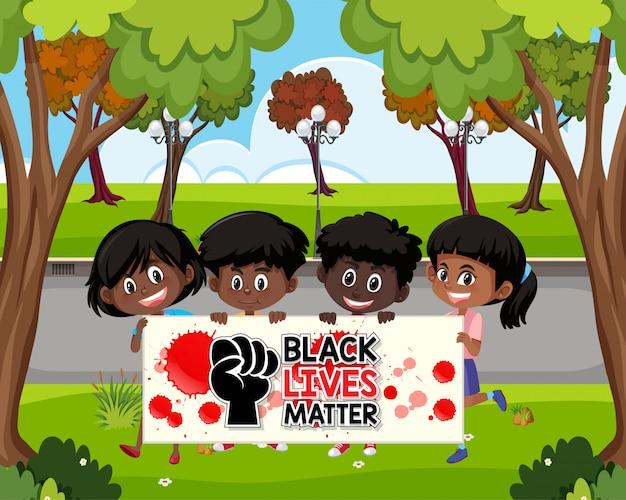 アフリカ系アメリカ人の黒人生活問題のサイン Premiumベクター