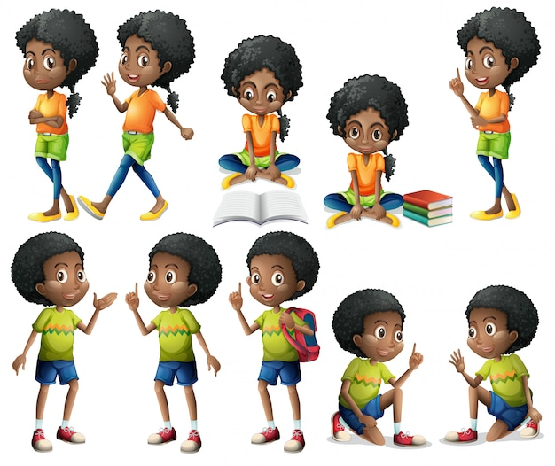 African-american kids Free Vector