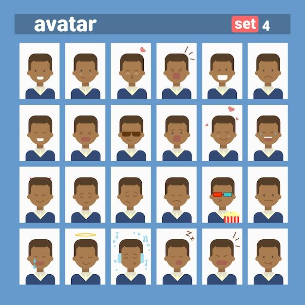 African american male different emotion set profile avatar, man cartoon portrait face collection Premium Vector