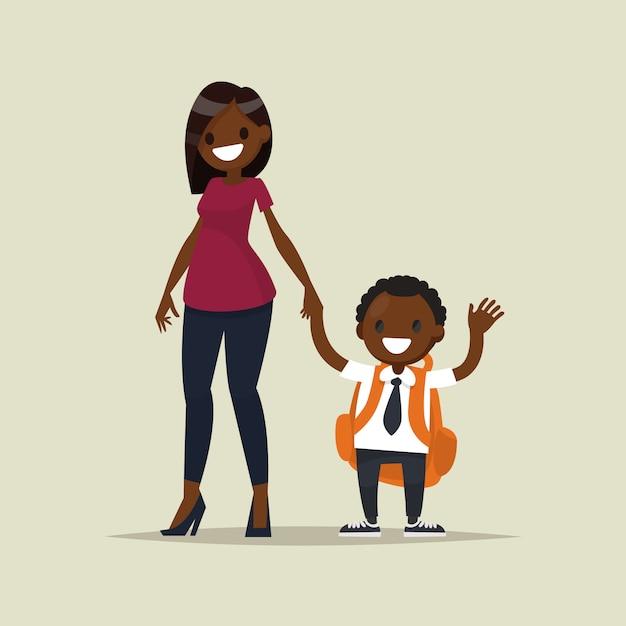 彼女の子供の少年とアフリカ系アメリカ人の母。 Premiumベクター