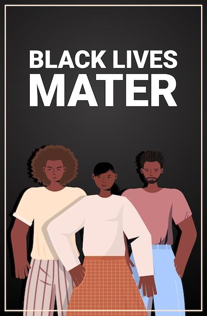 African american people against racial discrimination black lives matter concept social problems of racism vertical portrait Premium Vector
