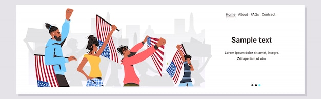 African american people holding usa flags and banners black lives matter campaign against racial discrimination Premium Vector