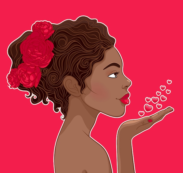 Афро-американская женщина в любви Premium векторы