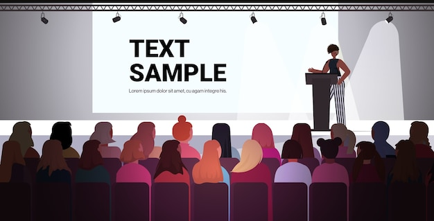 African american woman speaking to audience from tribune women's club girls supporting each other union of feminists concept conference hall interior   copy space vector illustrat Premium Vector