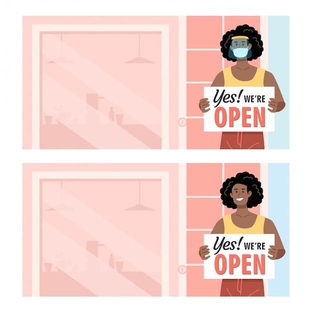 African american woman wearing protection holding open sign in front of her shop Premium Vector