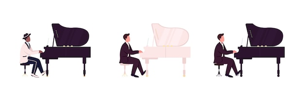 Африканские и кавказские пианисты плоский цветной безликий набор символов. классический, джазовый музыкант. концерт живой музыки изолированных иллюстрация шаржа для веб-графического дизайна и коллекции анимации Premium векторы