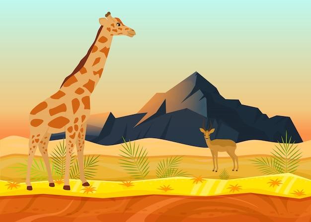 African animal giraffe deer, tropical natural landscape concept flat vector illustration. beautiful desert place, rock mountain space. Premium Vector